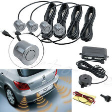 4 Parking Sensors Buzzer Car Reverse Backup Rear Radar System Sound Alarm Gray
