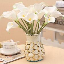 10Pcs Artificial White Real Touch Calla Lily Flower Wedding Home Decor Bouquet