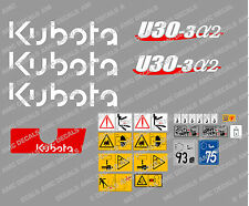 KUBOTA U30-3A2 MINI DIGGER COMPLETE DECAL SET WITH SAFETY WARNING SIGNS