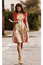 Plenty Frock! Tracy Reese Floral Chuparosa Dress 2 pink green silk Anthropologie