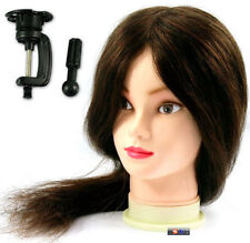 Long Hair Hairdressing Training Head Model with Clamp Stand Practice Mannequin