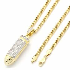 """Gold Plated Hip Hop Iced Out Bullet Pendant w/ 3mm 30"""" Cuban Chain"""