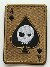 ACE OF SPADES DEATH SKULL CARD USA ARMY TACTICAL MORALE    PATCH  sk+438