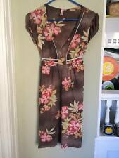 SWEET PEA DRESS STACY FRATI WATER COLOR FLORAL BROWN NICE ANTHROPOLOGY NYLON L