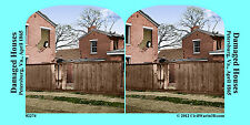 Damaged Houses Petersburg Va Civil War SV Stereoview Stereocard 3D 02274