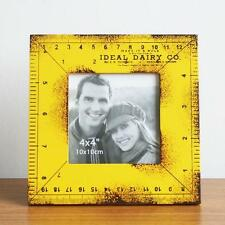 Retro Style Yellow Wood Ruler Photo Frame Picture Frame Home Decor Table 4''