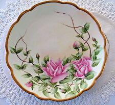 ANTIQUE 1800s M Z Austria PORCELAIN PLATE ROSES Flower