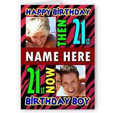 Personalizado entonces y ahora Fotos A5 Feliz Tarjeta De Cumpleaños Con Sobres.