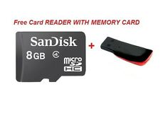 Sandisk 8GB Class 4 - 8 GB micro SDHC Memory Card  With FREE USB CARD READER