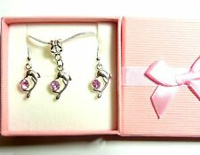Dainty Dolphin Pendant Necklace & Earrings Pink Rhinestone Bridesmaid Gift