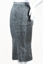 "Sandro NWT $210 Metallic Silver Black Knit ""Jolan"" Pencil Skirt SZ 1"