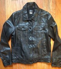 LEVI'S GENUINE LEATHER BLACK TRUCKER JACKET -MENS MEDIUM -LEVIS -NWOT