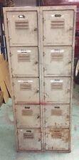 Vintage Industrial Metal Lockers- 10 Cubbies Locker Room Parts Cabinet