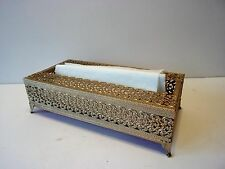 VINTAGE GOLD METAL ORNATE KLEENEX BOX