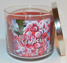 NEW BATH & BODY WORKS FROSTED CRANBERRY SCENTED CANDLE 3 WICK 14.5OZ LARGE RED