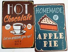 2 x CAFE METAL TIN SIGNS vintage cafe pub bar - HOT CHOCOLATE + APPLE PIE