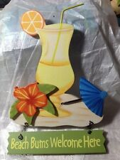 WOOD Tropical Cocktail Umbrella Flower BEACH BUMS WELCOME HERE Wall Sign NEW