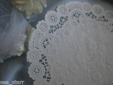 "VTG 8"" INCH ROUND heart LACE OFF WHITE PAPER FANCY SCROLL DOILIES 8 PCS cards"