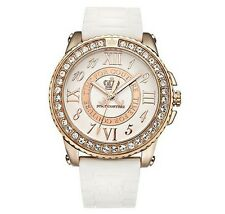 NEW Juicy Couture Pedigree Rose Gold P Crystal White Jelly Strap Watch 1900792