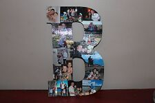 "13"" Personalized Photo Wrapped Wooden Letter, Sister Gift, Brother Gift, Parents"