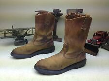 VINTAGE 1998 MADE IN USA RED WING AMBER BROWN ENGINEER BOOTS SIZE 10.5 A