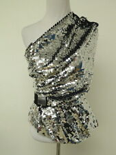 Carven Top Sequin One Shoulder Silver Size 36 New with Tags