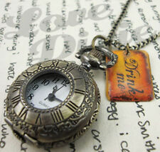 Alice in Wonderland Pocket Watch Necklace DRINK ME Tag