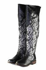 montage-58 New Over Knee Zipper Casual Synthetic Women's Winter Boots Black 7.5