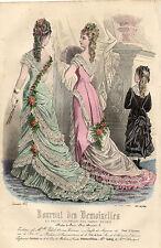 """52/ GRAVURE DE MODE """"  JOURNAL des DEMOISELLES """" 1876 SUPERBES COULEURS !"""