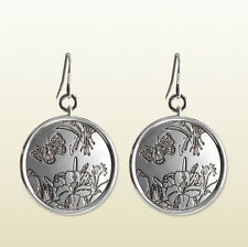 ICONIC GUCCI EARRINGS FLORA DESIGN STERLING SILVER SIGNATURE LOGO