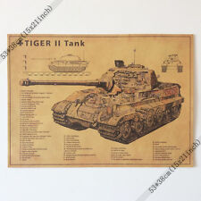 German Tiger II Tank Vintage Wall Paper Poster 21x15 Inch(53*38cm)