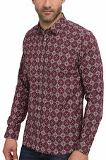 NWT $175 Men's TED BAKER LONDON L/S Luxury Shirt Red Geometric Print Size 7 3XL!