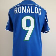 Il Brasile AWAY FOOTBALL SHIRT ADULTO LARGE RONALDO # 9 1998/2000 Coppa del mondo
