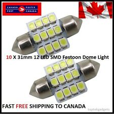 10 X Festoon Xenon WHITE 31mm LED Dome Light Bulb 12 SMD LED chips Interior 3528
