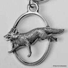 Red Fox Pewter Keyring Chain - British Hand Crafted - Hunting Shooting
