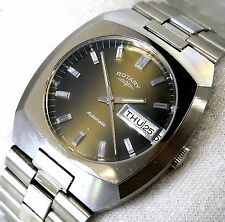 NEW ROTARY SWISS AUTOMATIC WIND BIG 36MM UNIQUE DIAL MENS VINTAGE RARE WATCH NOS