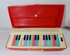 VTG TOY MINI PIANO MUSIC SAN REED JAPAN PORTABLE ORGAN RED USED SUNRISE CASE
