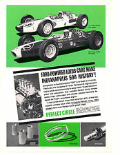 1963 PERFECT CIRCLE PISTON RINGS / DAN GURNEY & JIM CLARK ~ ORIGINAL PRINT AD