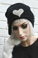 Silver Heart stud BLK cappello Beanie STREET WEAR Rave Hipster Beenie KAWAII Festival