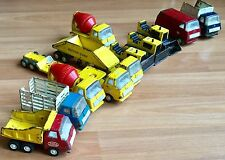 OLD VTG TONKA MINI PRESSED STEEL TOY DOZER DUMP CEMENT MIXER TRUCK LOT OF 13