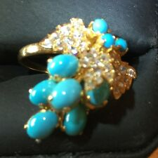 Estate Natural Turquoise Genuine Sapphire Ring Solid 22K YG