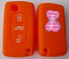 ORANGE SILICONE 3 BUTTON FLIP CAR KEY COVER CASE for PEUGEOT 307 308 407 408