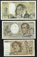 Souvenir : Lot 100 Francs Delacroix, 200 Francs Montesquieu et 500 Francs Pascal