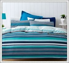 Navy Blue Turquoise White Stripe * SINGLE Quilt Doona Cover + 1 Pillowcase Set