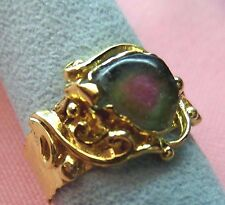 2ct Watermelon Tourmaline Slice 8x8mm 14k Solid Gold Handmade Ring skaisF17