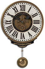 NEW RICH IVORY & BRASS PENDULUM WALL CLOCK ROMAN VINTAGE CONTEMPORARY STYLE