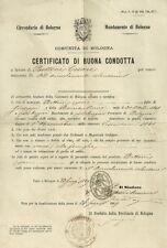 Circondario di Bologna Mandamento di Bologna Certificato di Buona Condotta 1869