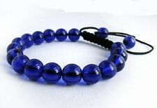 Men's Shamballa bracelet all 10mm dark BLUE glass beads