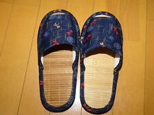 Japanese Bamboo Slippers Cool Comfortable Room Shoes Blue