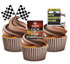 12 Formula 1 Lewis Hamilton Edible Wafer Cup Cake Toppers Birthday Decorations